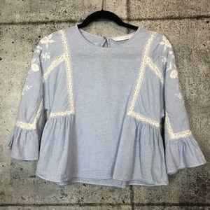 Zara // Embroidered Striped Top